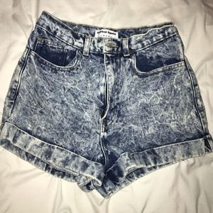 Denim acid wash shorts
